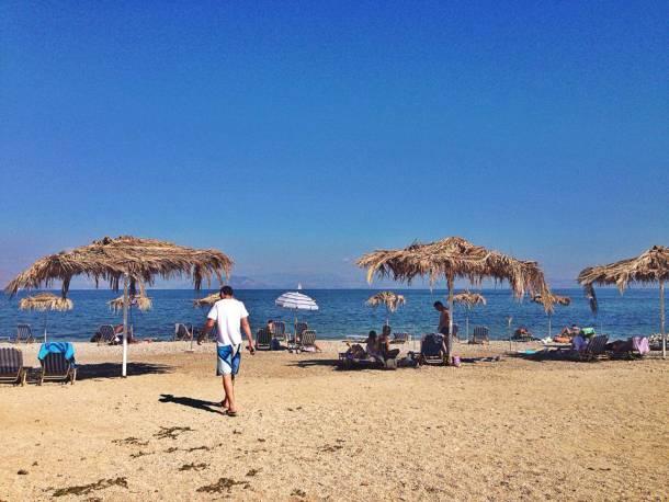 Benitses Beach in Corfu