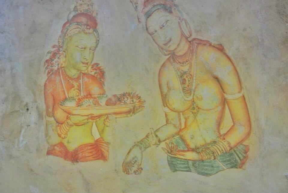 Frescoes inside the cave of Sigirya Rock Fortress