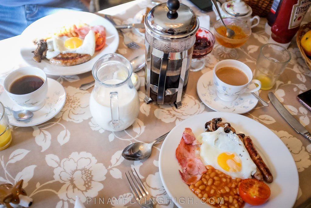 Breakfast served at Fosse Farmhouse in Castle Combe.