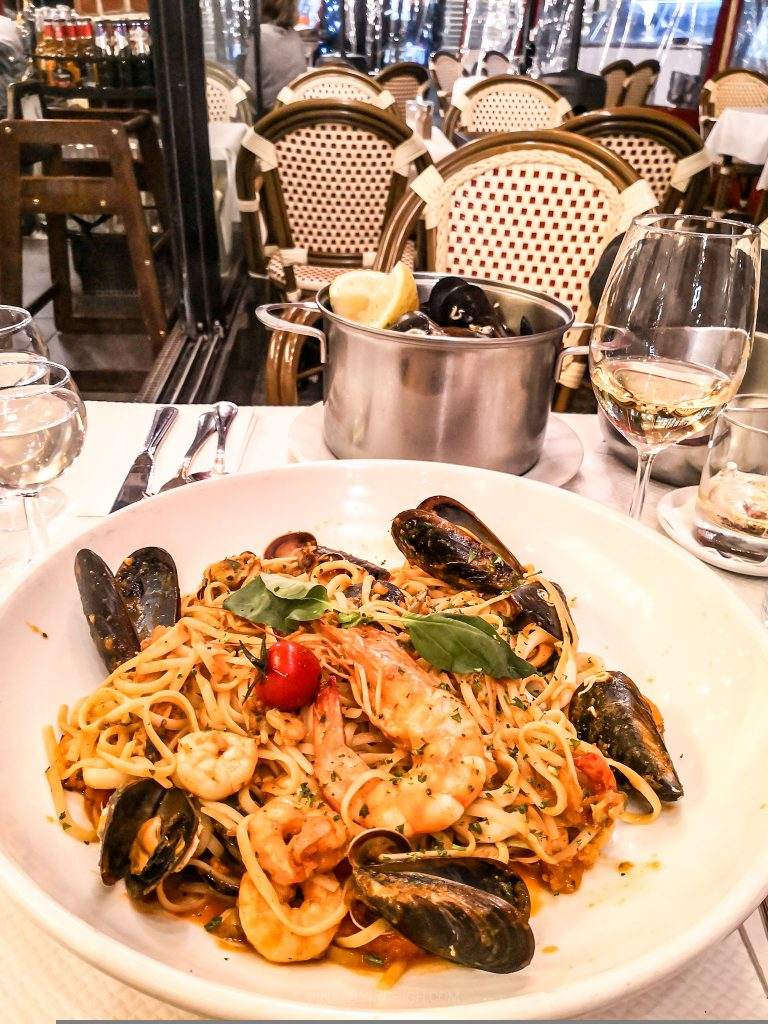 Seafood linguini in Nice, France