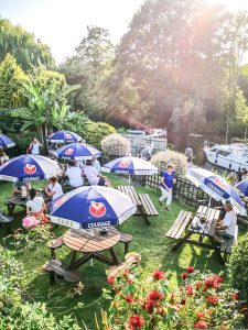 Beer garden at The Old Crown Public House in Weybridge