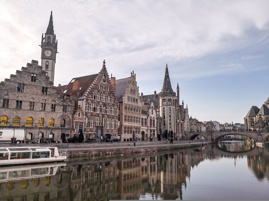 Early morning shot of Lys River in Ghent, Belgium