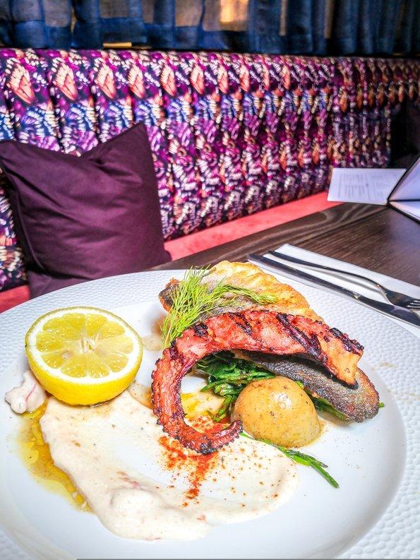sea bass fillet & charred octopus at the Hart's Boatyard, Surbiton, London, England